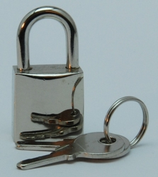 Padlock 16 mm, shiny nickelplated +2 keys