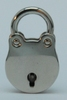 Padlock 20 mm heart shaped, shiny nickelplated +2 keys